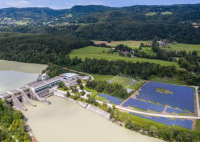 Luftbild Draukraftwerk Feistritz und PV-Kraftwerk Ludmannsdorf