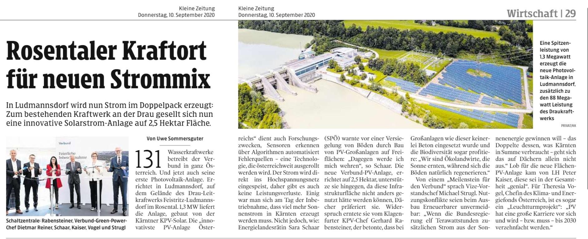 Beitrag Kleine Zeitung zur Eröffnung PV-Kraftwerk Ludmannsdorf