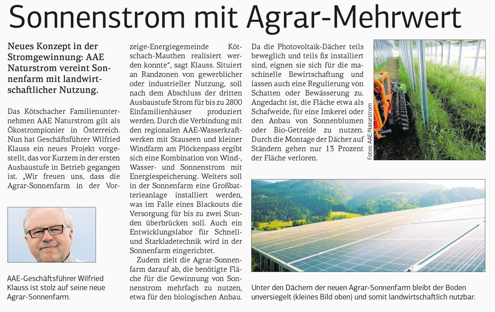 Artikel PV Kraftwerk Kötschach